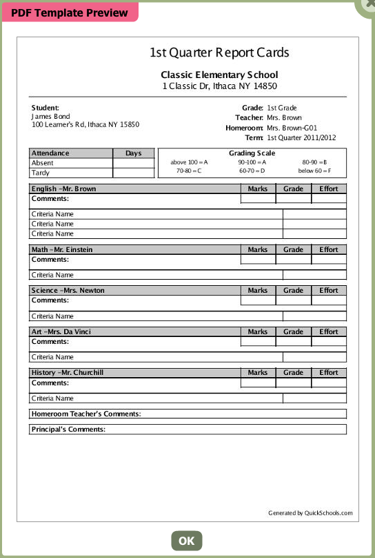QuickSchools Report Cards Template   Classic White