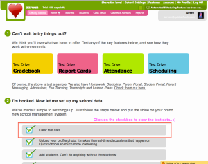QuickSchools help - how to clear test data from Getting Started page