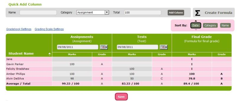 Subject Gradebook with Incomplete Final Grades