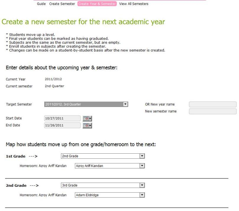 New Semester Setup -- Create Year & Semester