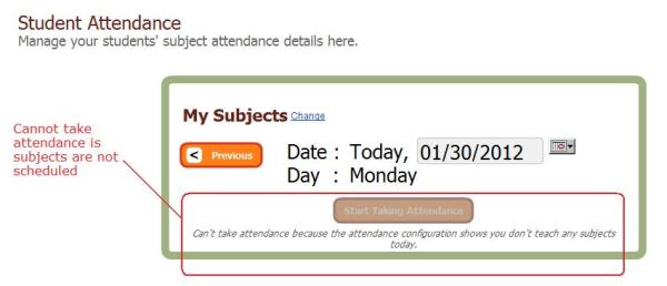 Cannot Take Attendance because not Subjects are Scheduled