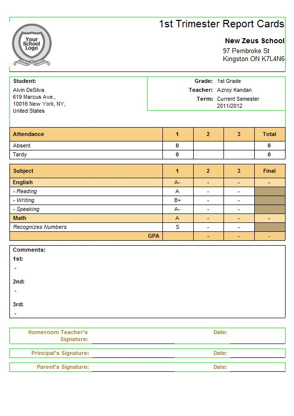Subject-Specific Criteria For Quickschools Report Cards | School