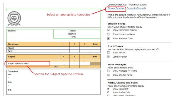Choose a Report Card Template with a Subject-Specific Criteria section