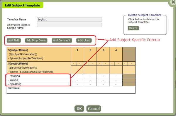 Creating a Subject Template for the Subject-Specific Criteria