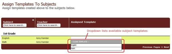 Select a Subject-Template for a Subject