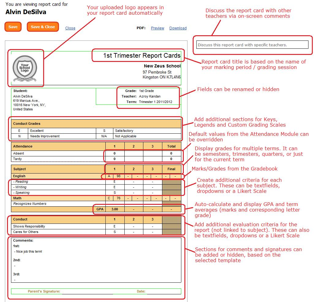 Quickschools report card features school management for Montessori report card template