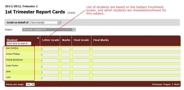 "The Report Cards ""Subject-Based"" screen"