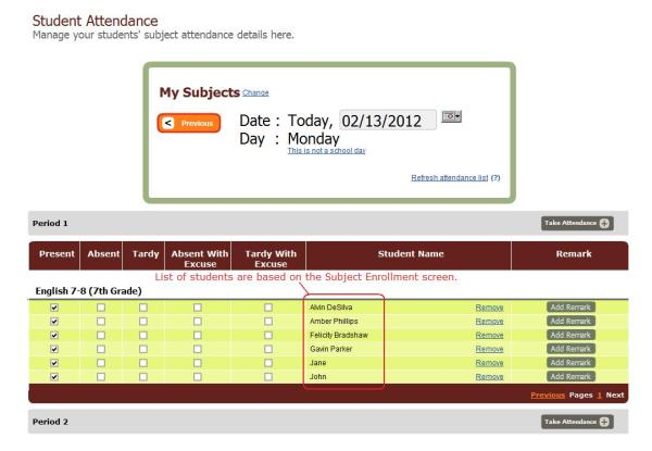 The Subject-Based Attendance Screen