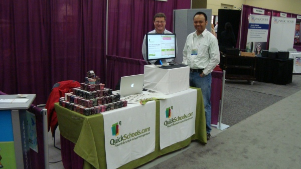 That's me at Chris after setting up the QuickSchools booth