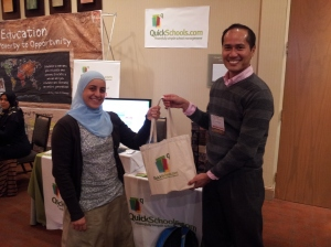 Azreen presenting a little gift to Al-Noor Sunday School