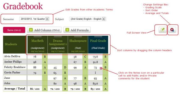 QuickSchools Gradebook on HTML5