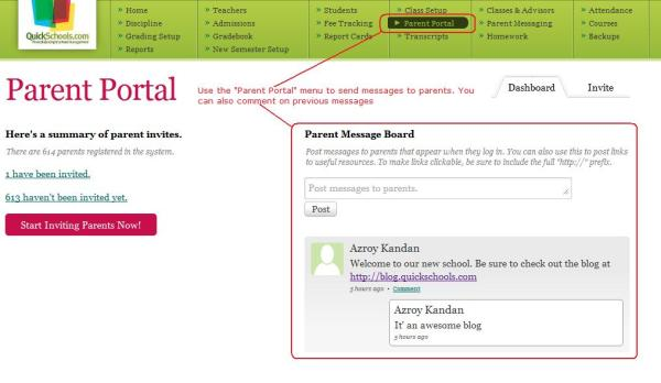 Parent Portal Module for Administrators