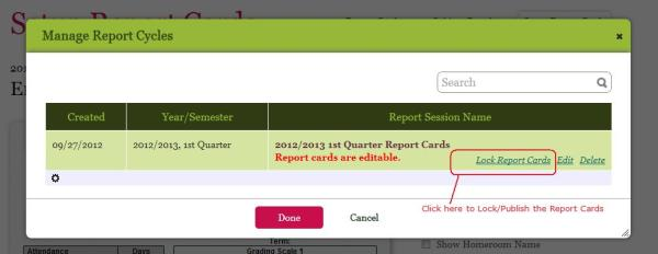 Locking/Publishing Report Cards