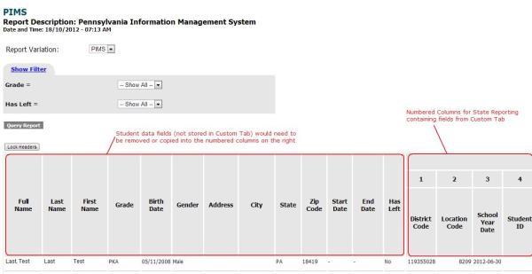Custom Report for State Reporting