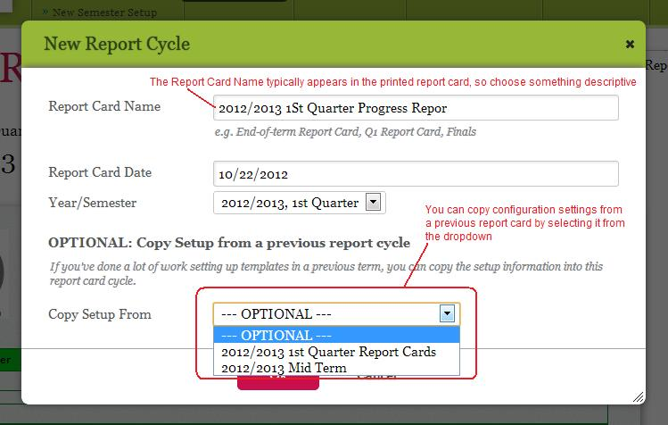 Creating Progress Reports using the Report Cards module
