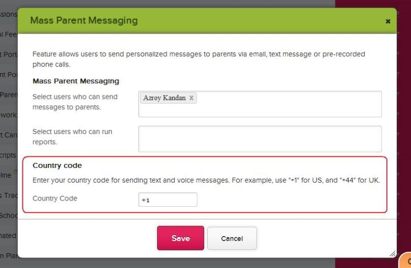Setting Country Code for Mass Parent Messaging