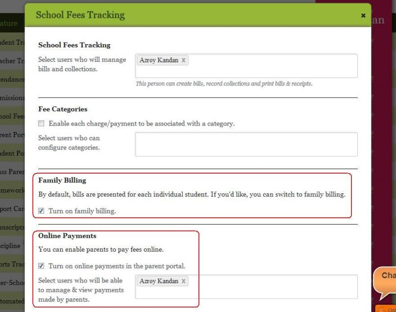 Enable / Configure Fee Tracking from the Features page