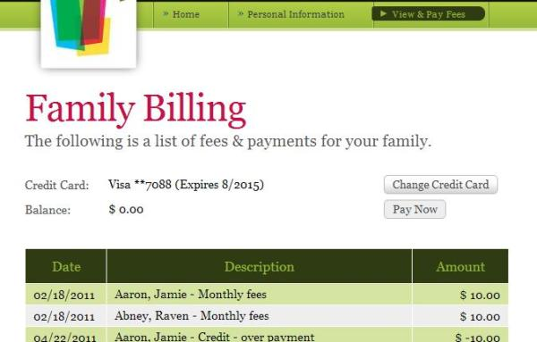 Parent Portal with Online Payments enabled