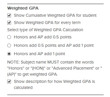 Transcript Configuration options for Weighted GPA