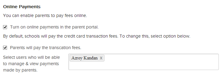 Pass Online Payment Transaction Fees to Parent