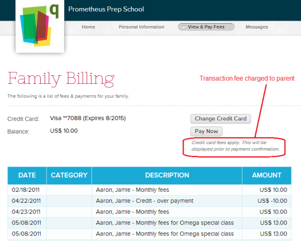 Parents can pay online with transaction fees