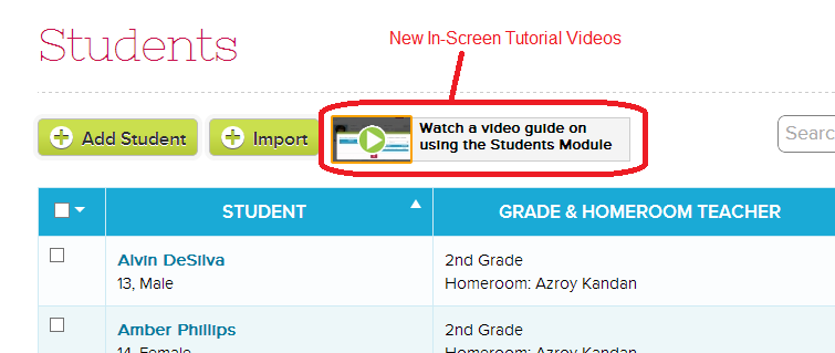 In-Screen Tutorial Videos