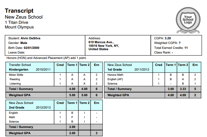 New 2 semester transcript with 4 quarters school for Free homeschool transcript template