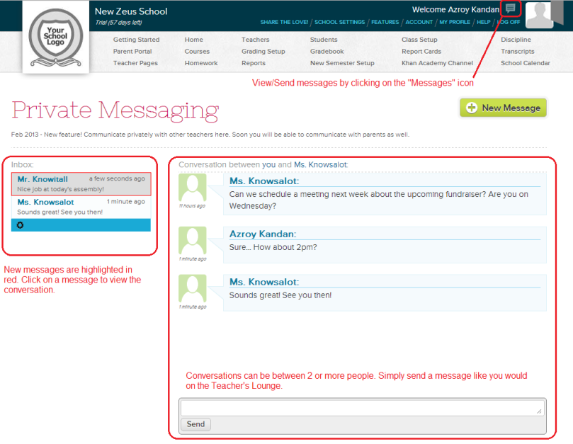 Private Messaging for Teachers