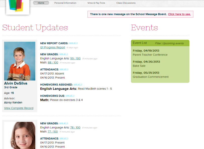 New QuickSchools Parent Portal Interface