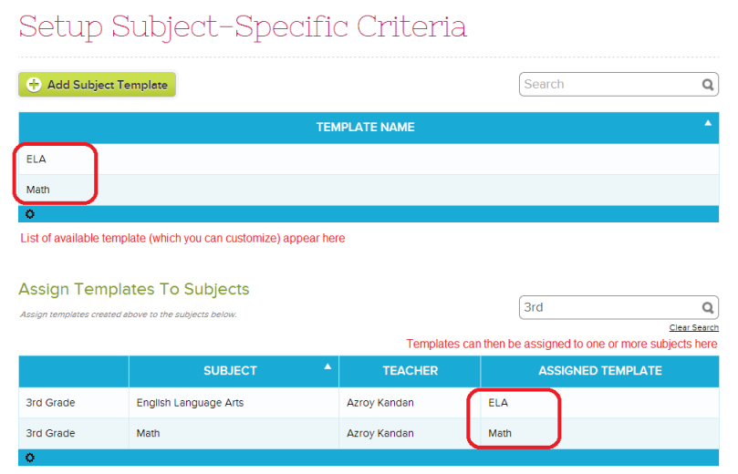Setting up Subject Specific Criteria