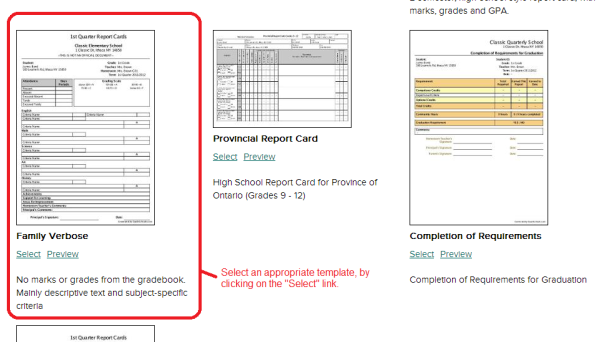Selecting a Report Card Template