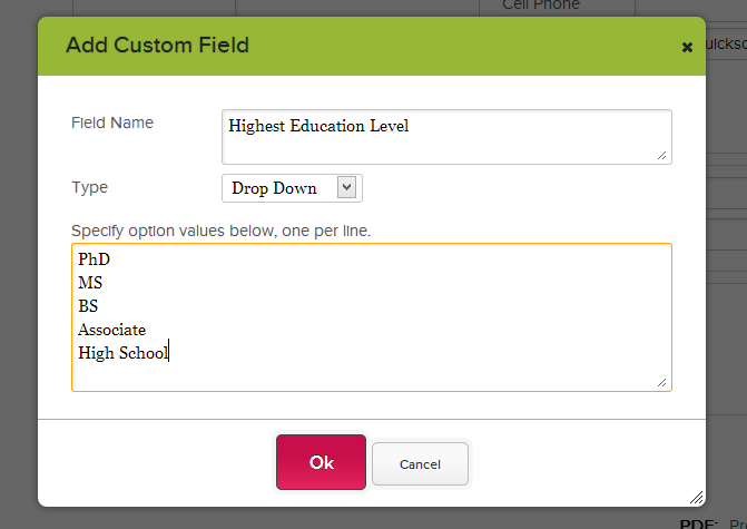 Adding a Custom Drop Down