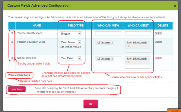 "Advanced Options via ""Configure Form"""