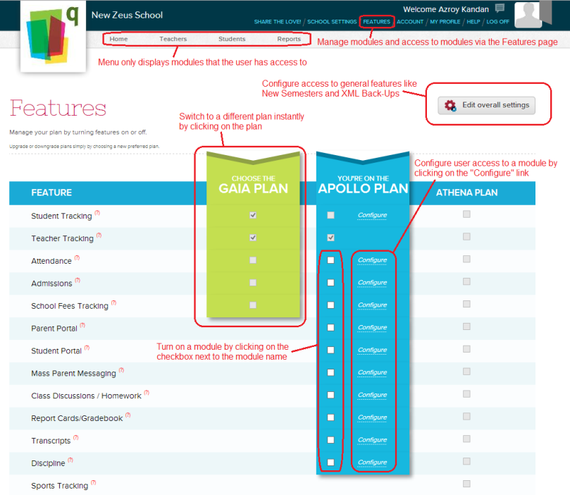 QuickSchools Features Page for Administrators