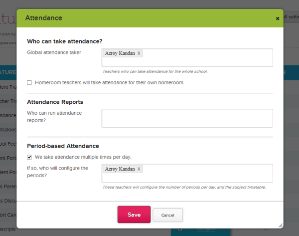Configuring the Attendance Module