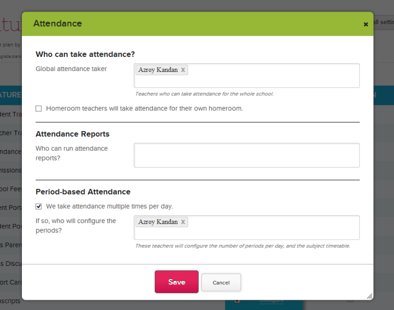Configuring the Attendance Module