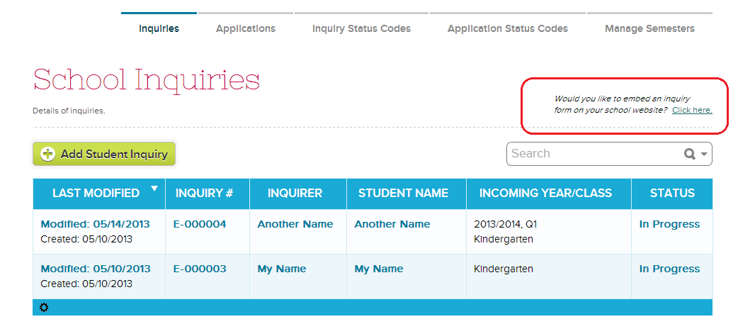 HTML Widget for Admissions Inquiry | School Management & Student ...