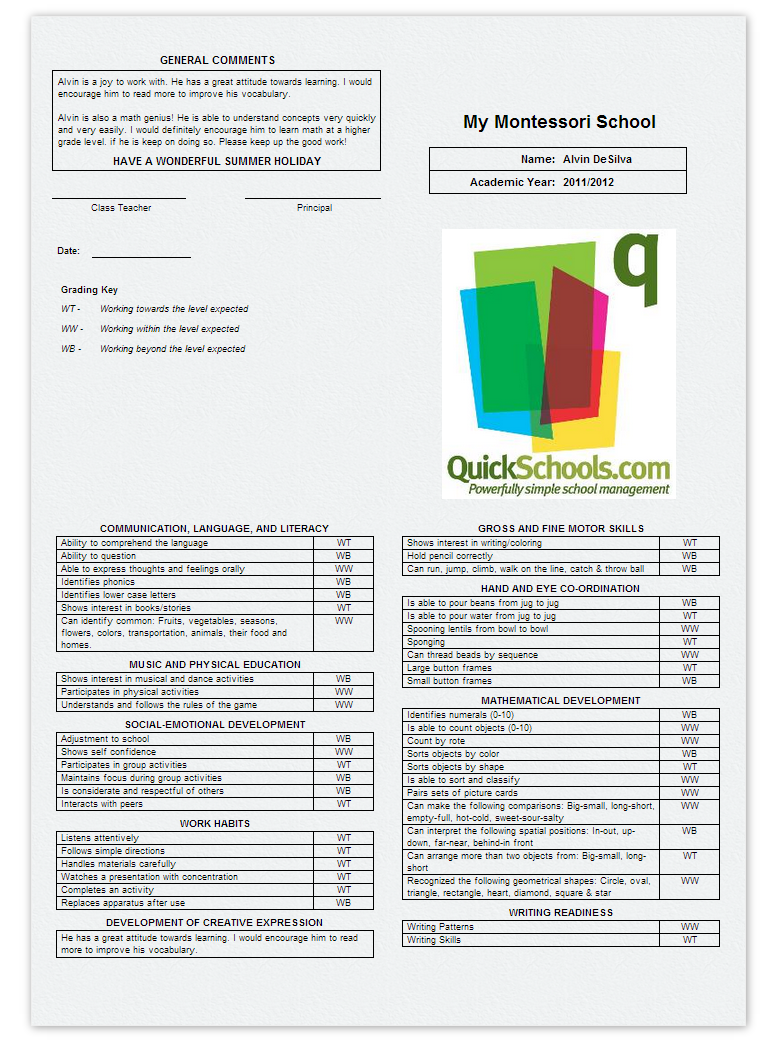 Skills based report cards for montessori schools school for Montessori report card template