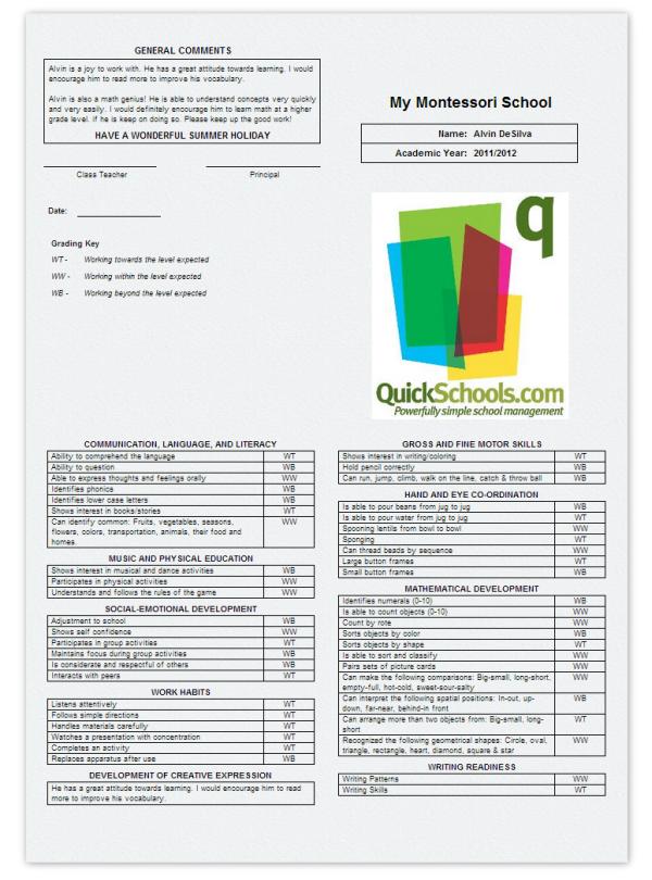 skillsbased report cards for montessori schools school