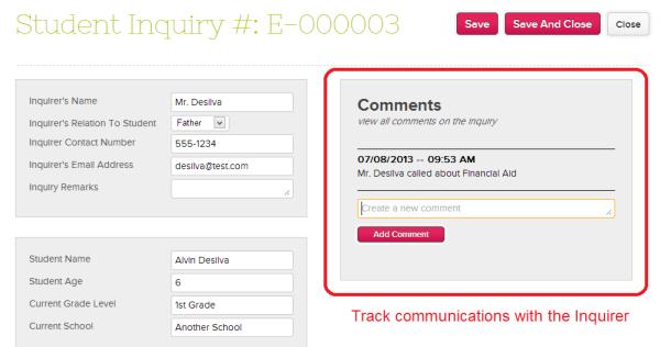 QuickSchools Admissions Inquiry