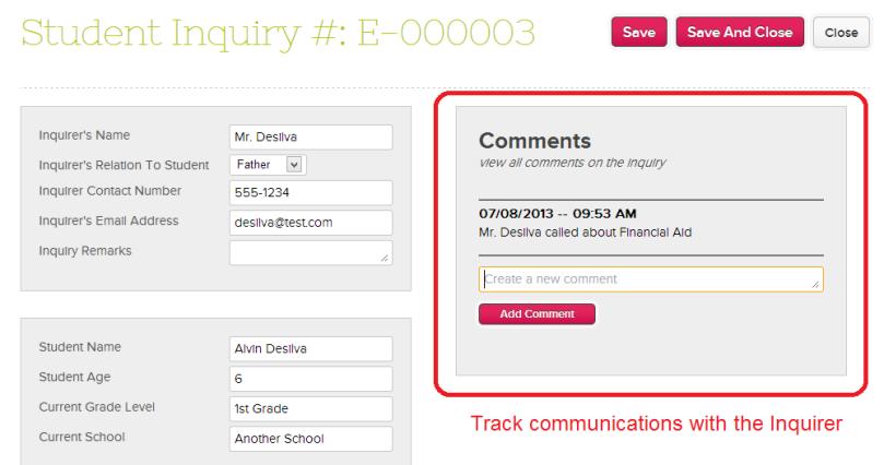 QuickSchools Admissions Inquiry
