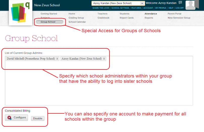 Managing Group School Admins and Consolidated Billing