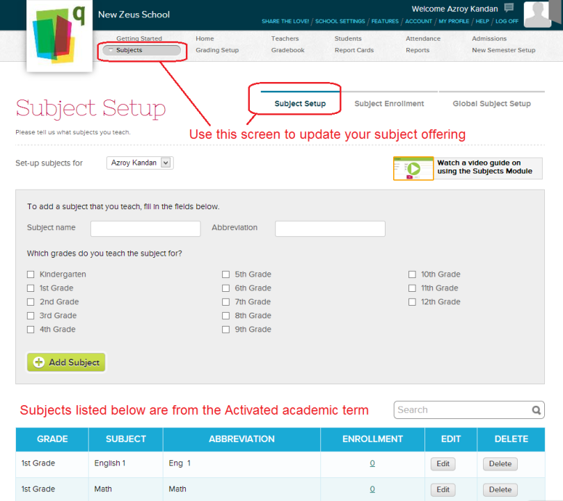QuickSchools Subject Setup
