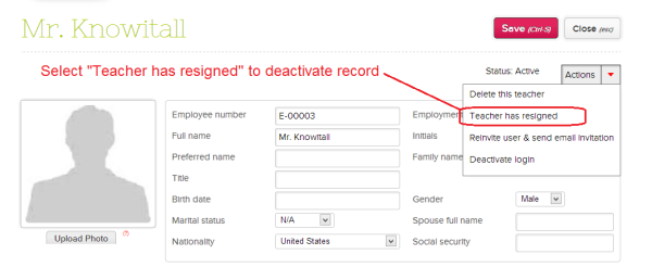 Deactivating Teacher Records