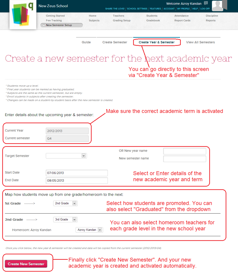 Create New Academic Year