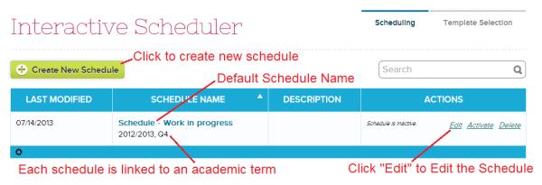 Add a new Schedule