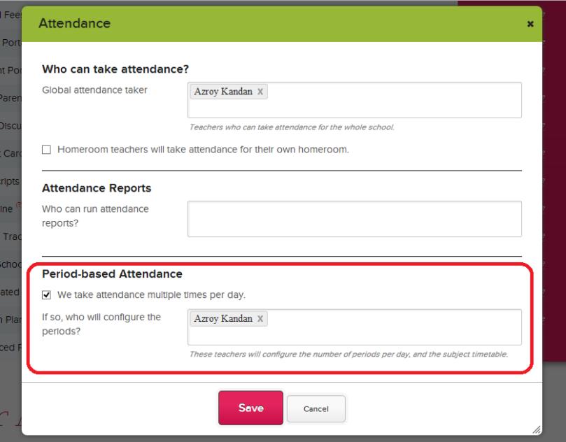 Turn on Subject-Based Attendance