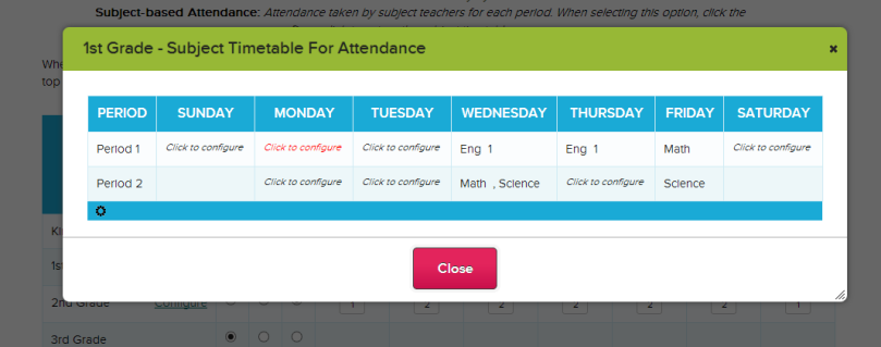 Assigning Subjects to Periods for Attendance