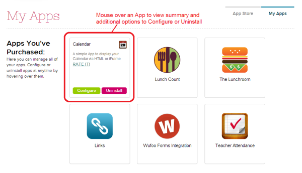 Installed Apps on your QuickSchools Account