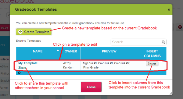 List of Gradebook Templates
